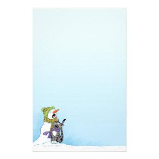 歌う雪だるまおよび猫のクリスマスの文房具 便箋