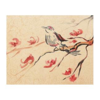 歌う鳥の背景 ウッドウォールアート