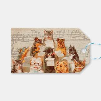 歌っている猫及び犬クリスマスのギフトのラベル ギフトタグ
