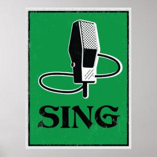 歌って下さい: レトロのマイクロフォンの芸術ポスター ポスター