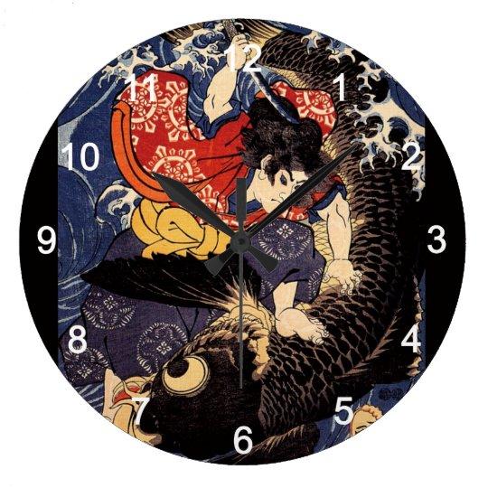 """""""歌川国芳""""の""""鬼若丸の鯉退治""""の壁掛け時計 ラージ壁時計"""