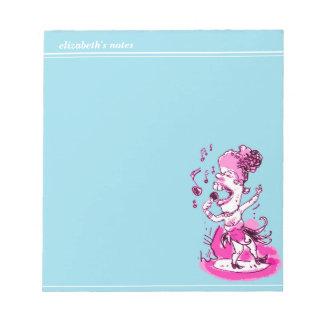 歌手の漫画のスタイルのおもしろいなイラストレーション ノートパッド