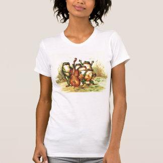 歌手を持つヴィンテージのカエルのミュージシャンバンドオーケストラ Tシャツ