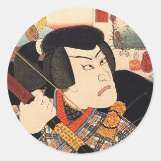 歌舞伎役者、Kuniyoshiの浮世絵、国芳のKabuki俳優 ラウンドシール
