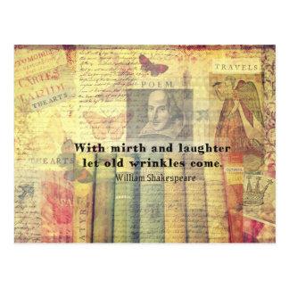 歓楽および笑い声の古いしわのシェークスピアの引用文 ポストカード