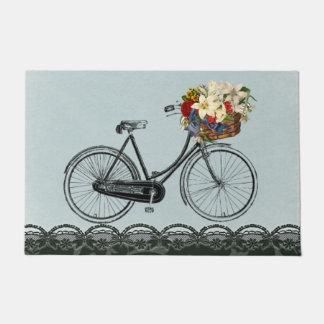 歓迎されたドアのミントの緑の花のバイクの自転車 ドアマット