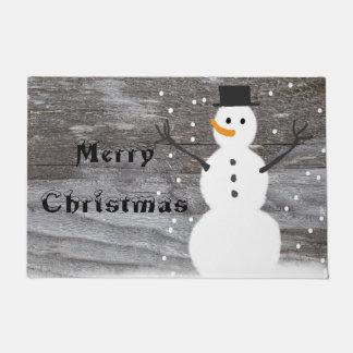 歓迎されたドアの素朴なメリークリスマスの雪だるま ドアマット