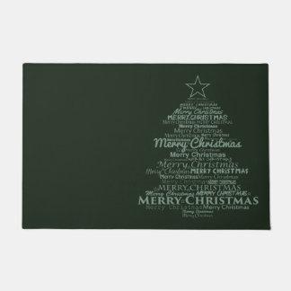 歓迎されたドアの緑のメリークリスマス ドアマット