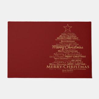 歓迎されたドアの赤いメリークリスマス ドアマット