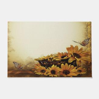 歓迎されたドア・マットの黄色の蝶ヒマワリ ドアマット