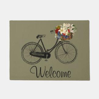 歓迎されたバイクの自転車の花のドア・マットの暗灰色 ドアマット