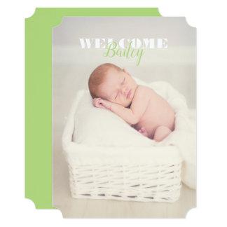 歓迎されたベビーの名前の写真の…新生児の発表 カード