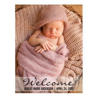 歓迎されたモダンなベビーの誕生の発表の郵便はがき ポストカード