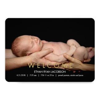 歓迎されたモダンな誕生の発表 カード