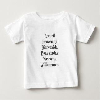 歓迎された多言語のTシャツレディースメンズ白 ベビーTシャツ