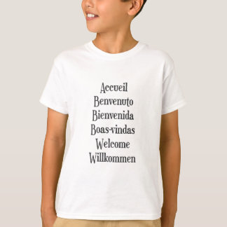 歓迎された多言語のTシャツレディースメンズ白 Tシャツ