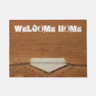 歓迎された家のソフトボールまたは野球のホームベースの玄関マット ドアマット