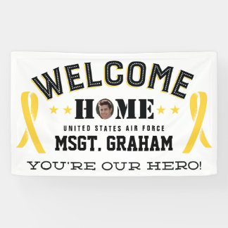 歓迎された家の黄色いリボンの軍隊のメンバー 横断幕
