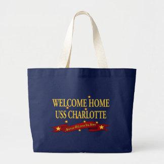 歓迎された家USSシャーロット ラージトートバッグ