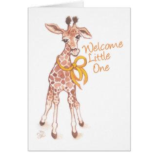 歓迎された小さい1つのかわいいキリンのベビーシャワー カード