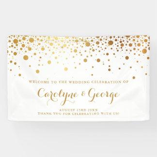 歓迎された旗を結婚する模造のな金ゴールドの紙吹雪の点 横断幕