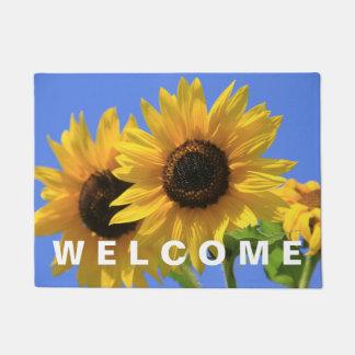 歓迎された明るく、明るい夏のヒマワリ ドアマット