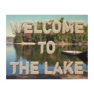 歓迎された湖の印 ウッドウォールアート