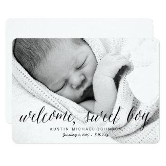 歓迎された甘い男の子|の写真の誕生の発表 カード