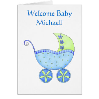 歓迎された男の赤ちゃんの名前の名前入りで青い乳母車 カード