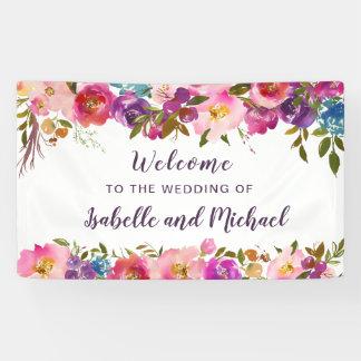 歓迎された紫色およびピンクの水彩画の花柄の結婚 横断幕