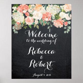 歓迎された結婚式の印のモモのアイボリーの花の黒板 ポスター