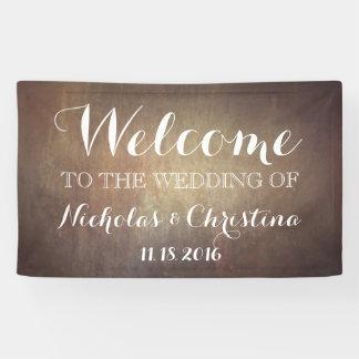 歓迎された結婚式の旗の素朴な金ゴールド 横断幕