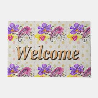 歓迎された花の水玉模様 ドアマット