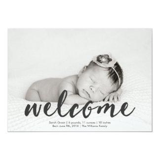 歓迎された赤ん坊の写真の誕生の発表 カード