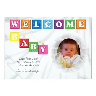 歓迎された赤ん坊は写真の誕生の発表を妨げます 12.7 X 17.8 インビテーションカード