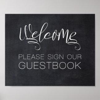 歓迎された黒板の結婚式の印私達の来客名簿 ポスター
