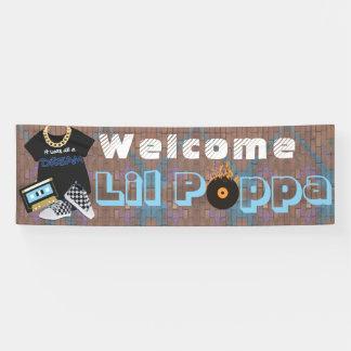 歓迎されたLilのPoppaのヒップホップの男の子のベビーシャワーの旗 横断幕