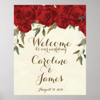 歓迎レセプションの印ポスターを結婚している赤いバラ ポスター