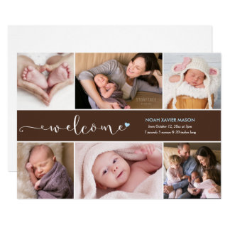 歓迎6の写真のコラージュの誕生の発表 カード