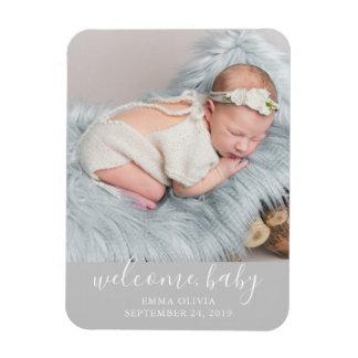 歓迎、ベビー|の灰色の誕生の発表の写真 マグネット