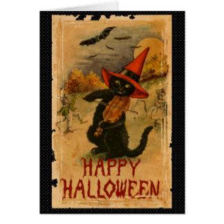 止め枠のこうもりを遊んでいるハッピーハローウィンの黒猫 カード