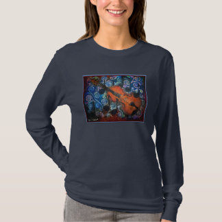 止め枠のバイオリンの女性の長袖のTシャツ Tシャツ