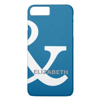 正しく一致する青く白いアンパーサンドの恋人の名前 iPhone 8 PLUS/7 PLUSケース