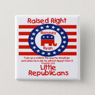 正しく上げられた-若い共和党ボタン! 5.1CM 正方形バッジ