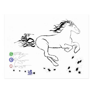 正しく疾走している馬(bw) [郵便はがき] ポストカード