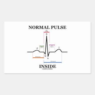 正常|脈拍|中|(ECG/EKG|心電図) 長方形シールステッカー