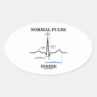 正常|脈拍|中|(ECG/EKG|心電図) 卵形シール・ステッカー