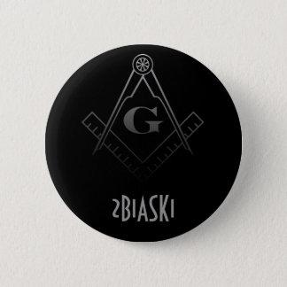 正方形およびコンパスボタン 5.7CM 丸型バッジ