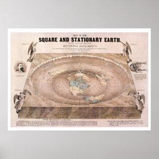 """""""正方形および静止した""""平らな地球の地図 ポスター"""