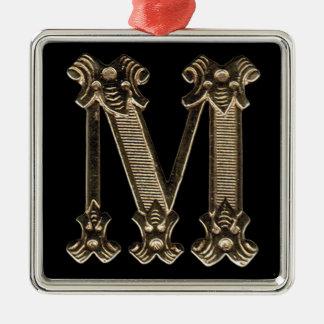 正方形のオーナメントの手紙Mのイニシャル メタルオーナメント